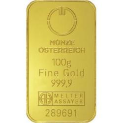 Münze Österreich investiční zlatý slitek 100 Gramů